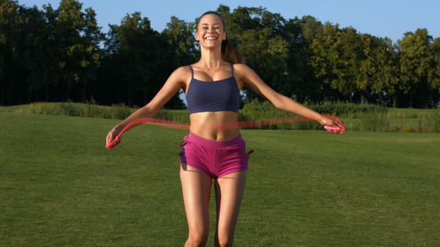 Girl doing a workout outdoors. video