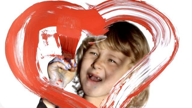 HD: Girl Drawing A Heart Shape video