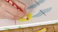 HD: Girl Drawing Smiley Sun video