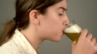 Girl drinking beer video