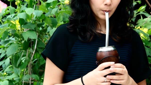 Girl Drinking Mate, Yerba Mate. video