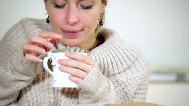 Girl drinking tea video