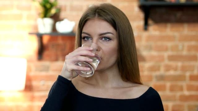 Girl Drinking Water, Indoor Office video