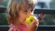 HD: Girl eating an apple video