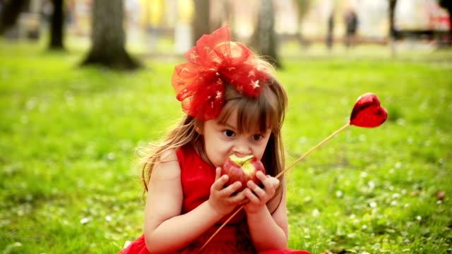 Girl eating apple video