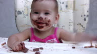 Girl eating chocolate (HD) video