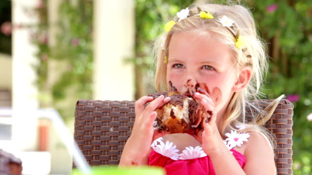 Girl Eating Messy Slice Of Chocolate Cake video
