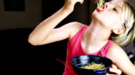Girl Eating Noodles video