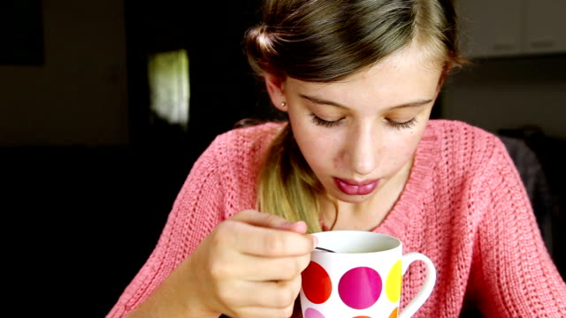 Girl Eating Soup video