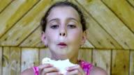 Girl eats bread video