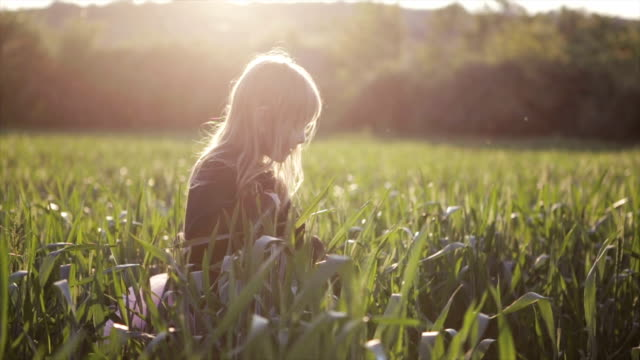 Girl enjoying the wheat field video