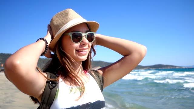 Girl enjoys a beautiful sunny day video