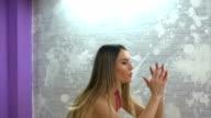 Girl exercises on aerobic stepper video