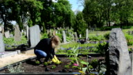 girl grave plant flower video