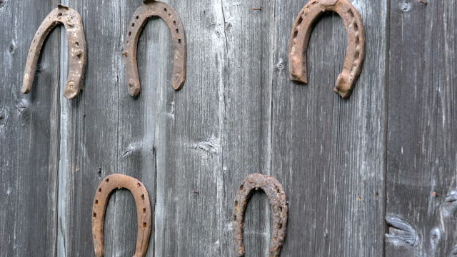 Girl hand put retro rusty horseshoes on old wooden rural house wall. Closeup. video
