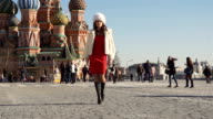 Girl In A Fur Clothes On The Red Square In Moscow video