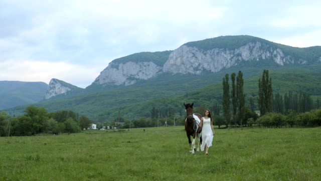 Girl In A White Dress With Horse video