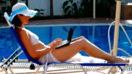Girl in bathing suit lying on sun lounger the pool video