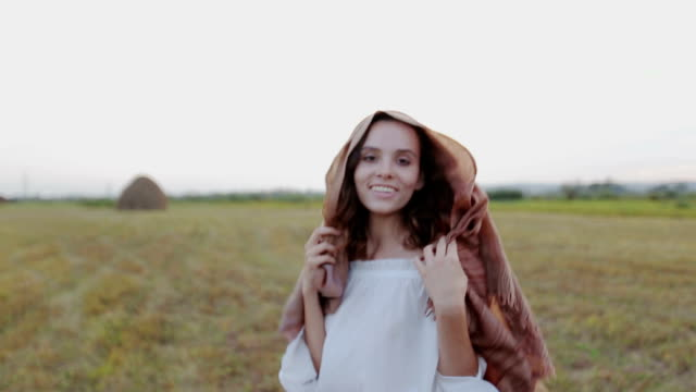 girl in peasant dress. Summer evening. video