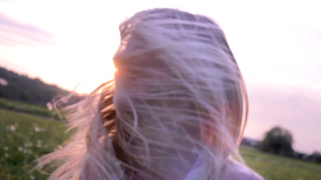 Girl in sunset video