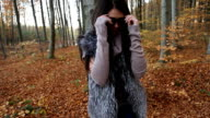 Girl in the autumn forest video