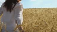 Girl in wheat field. video