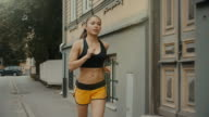 Girl is Running at Morning Time in Residential Area video