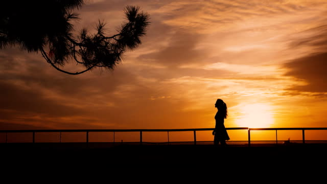 Girl is Walking on embankment with backlight sunset video