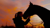 SLOW MOTION: Girl kissing her horse at sunset video