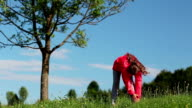 Girl make physical exercises on the nature near tree video