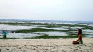 Girl meditating on beach video
