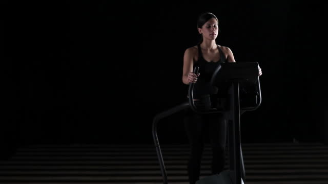 Girl on a stepping machine video