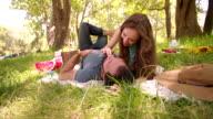 Girl playfully feeding her boyfriend chocolate in a park video
