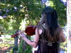 Girl Playing Violin outdoors at Festival video