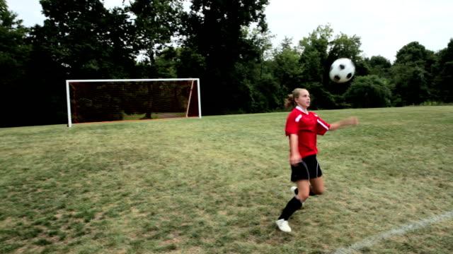 Girl practising soccer video