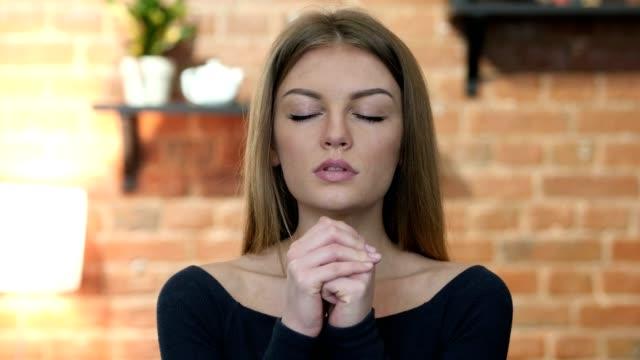 Girl praying  for Forgiveness, Portrait video