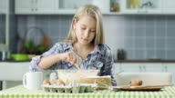 Girl Preparing Food In Kitchen video