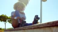 Girl Puting Her Roller Skates video
