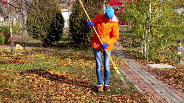girl rakes autumn leaves video