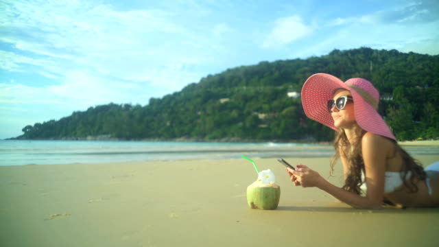 Girl Relaxing On The Tropical Beach video