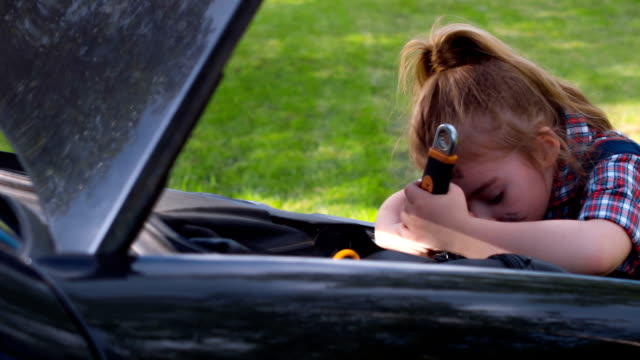 Girl repairing car on the sunny green glade video