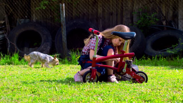 Girl repairs a bike on a sunny green glade video