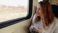 Girl rides on the train video