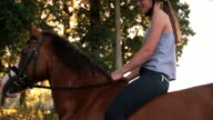 Girl riding her horse down a sunlit park lane video