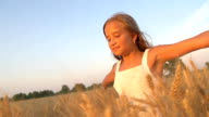 HD SUPER SLOW-MOTION: Girl Running In A Wheat Field video