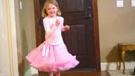 Girl runs toward camera video