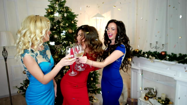 Girl says toast, Christmas Cheers, a group of girls drink alcohol from of wine glasses, young women having fun New Year's party, girls smiling video