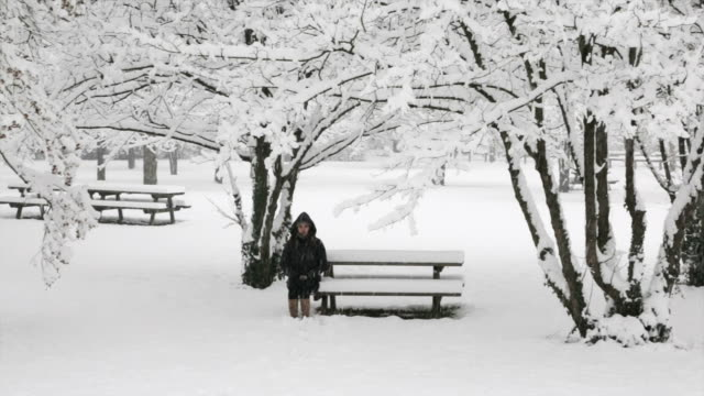 Girl sits on a bench in the winter video