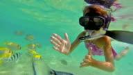 Girl snorkelling underwater video