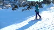 Girl snowboarding video